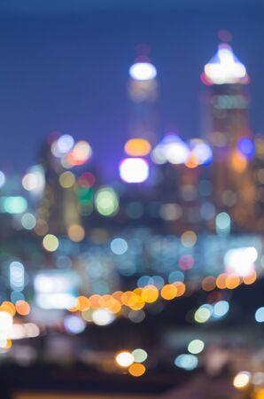 city lights: Bokeh City lights abstract circular bokeh on blue twilight background Stock Photo