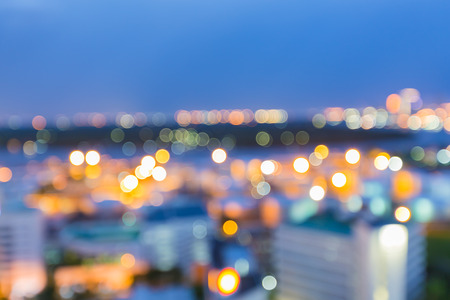 Abstract blur bokeh city lights during twilight