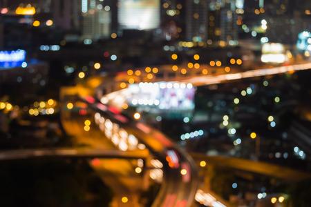 Blur bokeh lights city motion of traffice expressway at night