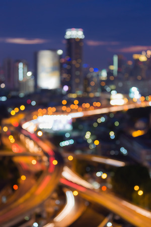 highway lights: Bangkok city highway intersection, abstract blur bokeh city lights during twilight