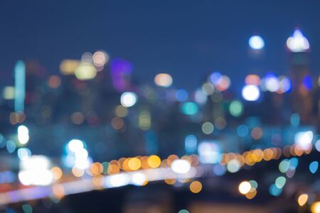 city road: Blurred abstract background bokeh lights with city road view Stock Photo