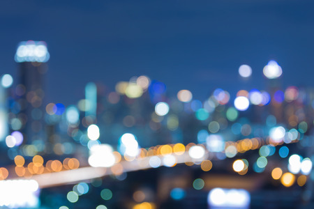 Cityscape and highway night view, abstract blur bokeh background Foto de archivo