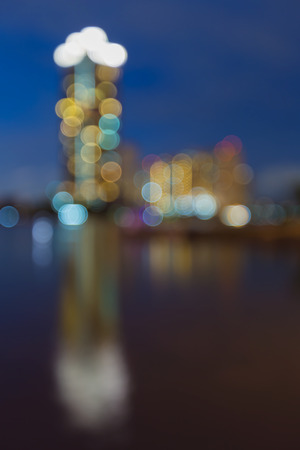 apartment abstract: Abstract blurred bokeh lights, the apartment with water reflection Stock Photo
