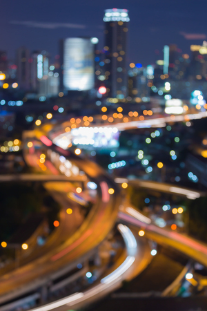 city road: Abstract blurred bokeh city road intersection night view Stock Photo