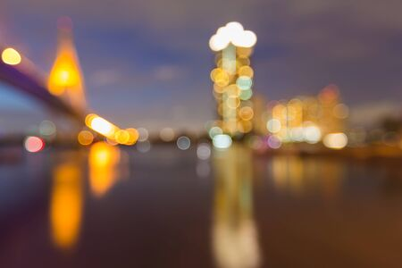 bokeh lights: Bokeh lights of city highway curved