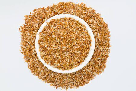 Mixed coarse rice on white background