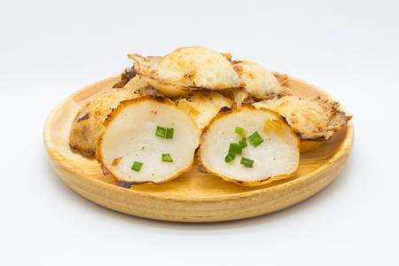 plum pudding: Traditional Thai sweetmeat coconut pudding, Kanom Krok, on white background