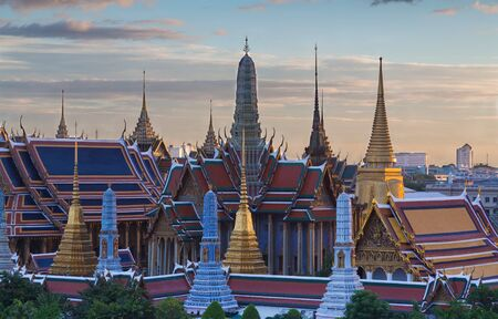 emerald city: The Emerald Buddha,Grand palace in Bangkok, Thailand, Wat Phra Kaew, Temple, during sunset