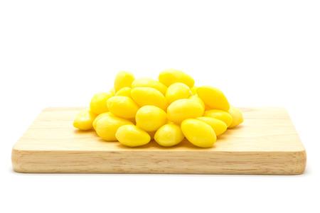 memory drugs: Boiled Ginkgo nut on wooden board