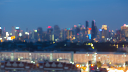 skylines: Abstract blurred bokeh lights, city skylines during twilight