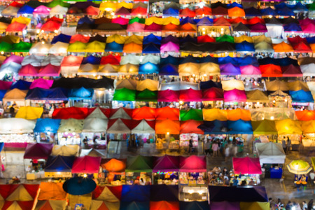 fleamarket: Blurred bokeh lights of aerial view colors flea market roof top
