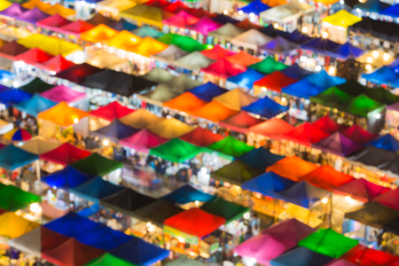 mixed colors: Mixed colors of flea market roof top at night Stock Photo