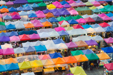 fleamarket: Aerial view of multiple color roof to flea market on weekend Stock Photo