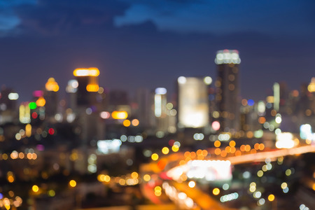 city light: Abstract blurred bokeh city light with highway at night