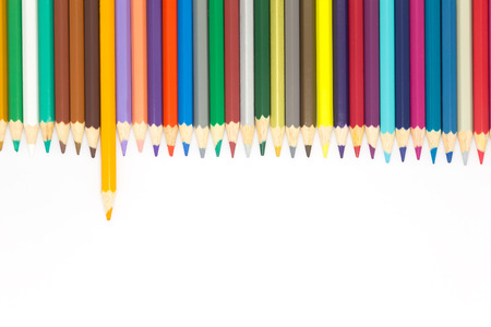 multi colour: Multi colour wooden pencils on white background