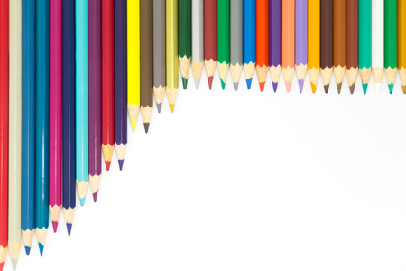 multi colour: Group of multi colour wooden pencils on white background