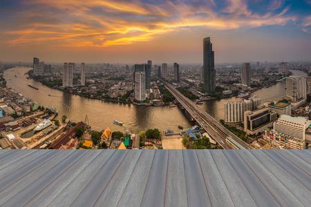 natual: Opening wooden floor, Beautiful sky panorama of Chao Phraya river curve, Bangkok Thailand