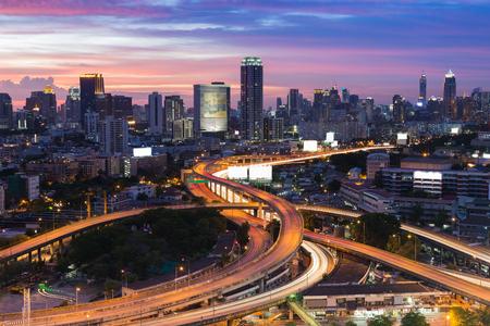 nightfall: Twilight of Bangkok elevated road junction and interchange overpass Stock Photo