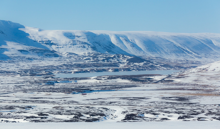 Beautiful of covered snow mountain on sunshine day, Iceland Stock Photo