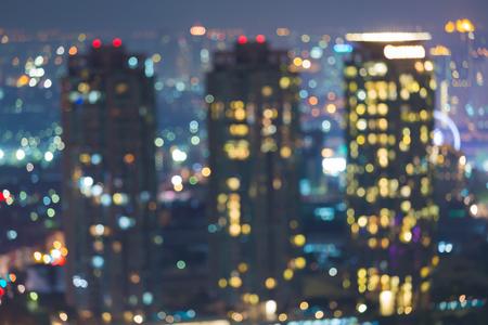 dallas: Blurred bokeh city lights city building at night