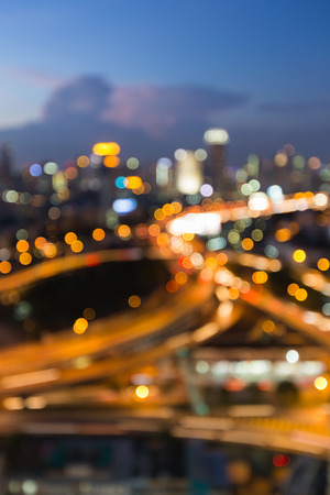 dallas: Aerial view city downtown road intersection during twilight, blurred bokeh light background