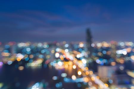 Nigh stad licht wazig, luchtfoto, abstracte bokehachtergrond