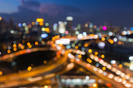 interchanged: Abstract blurred bokeh light background, city road interchanged at night