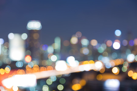 dallas: Aerial view of downtown light at night, abstract blurred bokeh background Stock Photo