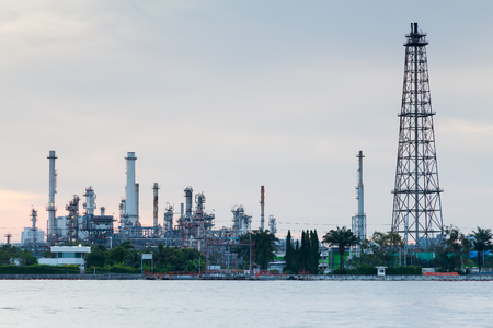 gas plant: Oil refinery manufacturing plant waterfront