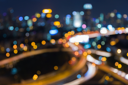 interchanged: Abstract blurred bokeh city interchanged road at night
