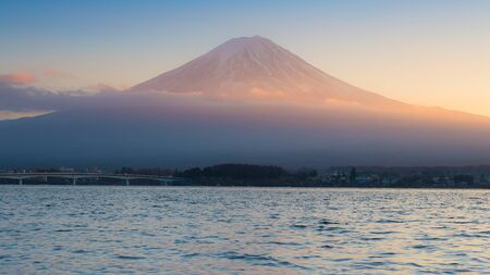 lake sunset: Sunset at Kawaguchi Lake in Japan with Mt Fuji background Stock Photo