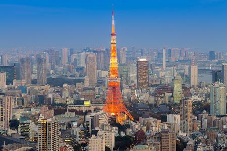 mori: Tokyo Tower skyline during twilight