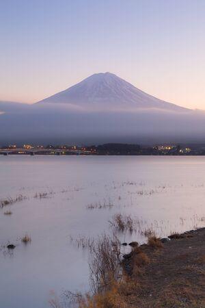 fuji mountain: Fuji mountain in background in Kawaguchi Lake, Japan Stock Photo