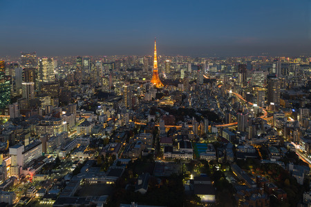 mori: Tokyo city aerial view twilight, Japan