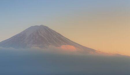 fuji mountain: Closeup Fuji Mountain during sunset Stock Photo