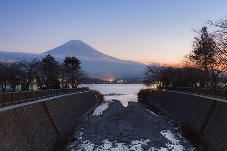 lake sunset: Sunset at Kawaguchi Lake with Mt.Fuji background