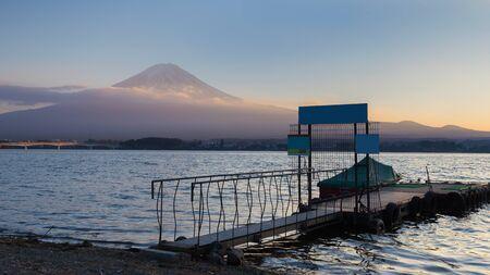 fuji mountain: Fuji Mountain background sunset at Kawaguchi Lake, Japan