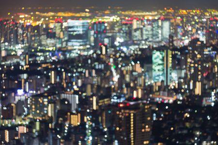 dallas: Aerial view blurred bokeh lights, Tokyo city, Japan