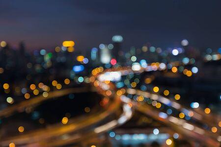 dallas: Blurred bokeh light city highway road interchanged at night Stock Photo