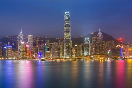 hong kong night: Hong Kong cityscape waterfront over Victoria harbor, twilight