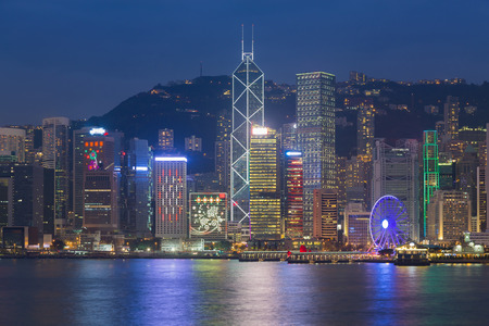 hong kong city: Hong Kong city waterfront at night