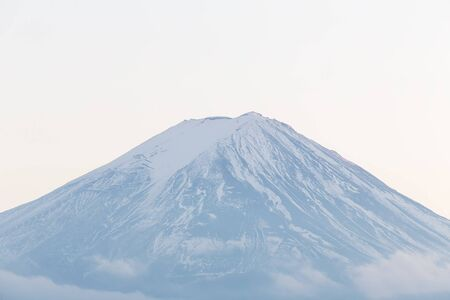 fuji mountain: Close up peak of Fuji mountain in winter, Japan Stock Photo