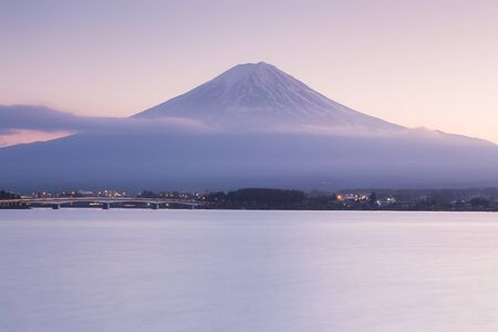 mountain view: Fuji Mountain during sunset at lake Kawakugigo front view, Japan