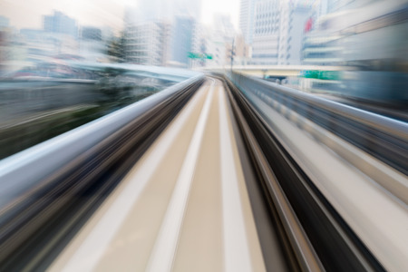 city abstract: Blurred motion subway moving train Stock Photo
