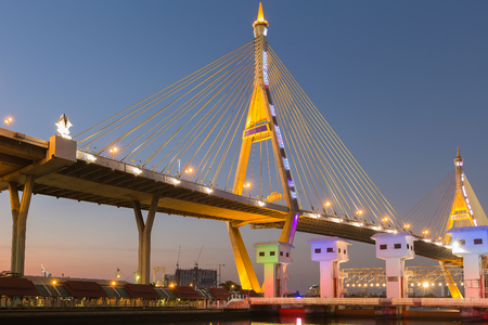 sky bridge: Bhumibol suspension Bridge in Thailand, also known as the Industrial Ring Road Bridge, in Thailand. The bridge crosses the Chao Phraya River.