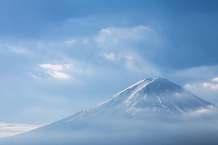 fuji mountain: Fuji mountain with show covered on Top, close up, Japan