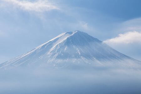 snow covered: Close up Fuji Mt. with snow covered on top, Japan