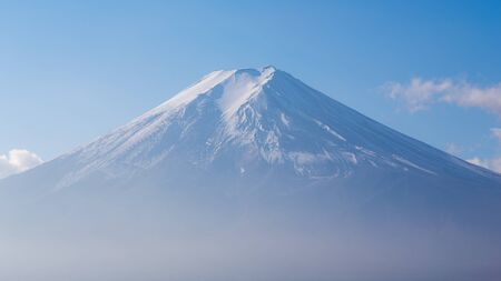 snow covered: Fuji mountain with snow covered on Top, Japan