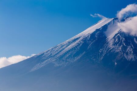 snow covered: Fuji mountain close up snow covered on top, Japan