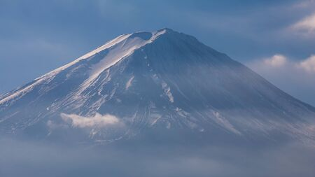 snow covered: Close up top of snow covered top Fuji Mountain, Japan